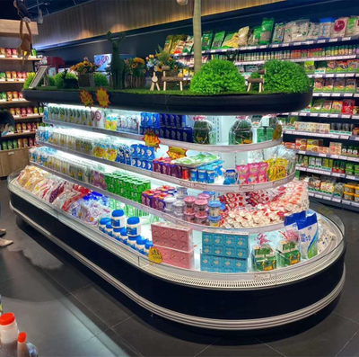 Supermarket Equipment Circle Sayuran Display Kulkas Island Cooler
