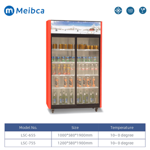 Supermarket Double Glass Door Upright Showcase For Drinks